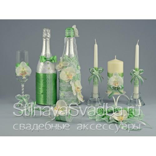 Свадебные аксессуары Лайм с орхидеями  фото