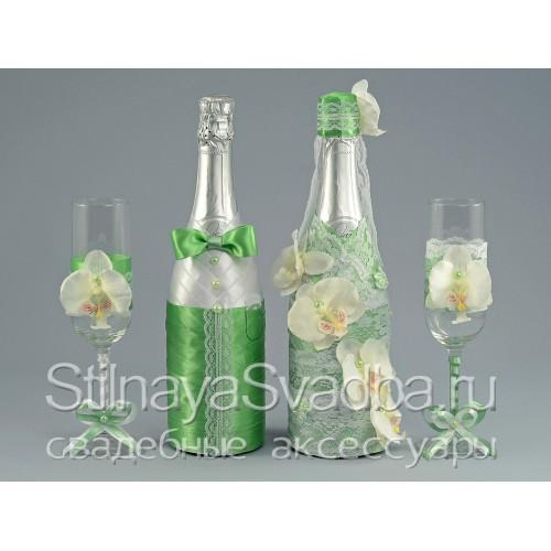 Свадебные аксессуары Лайм с орхидеями . Фото 000.