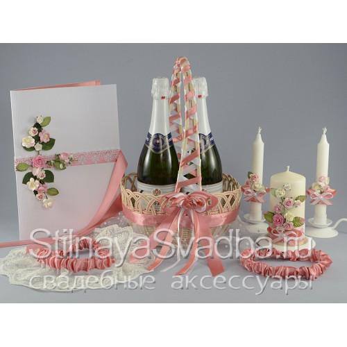 Набор свадебных аксессуаров Розовая сюита  фото