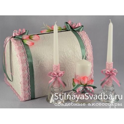 Свадебный сундук и свечи Весенний крокус фото
