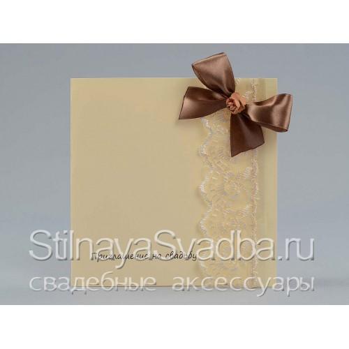 Приглашение с шоколадным бантом  фото