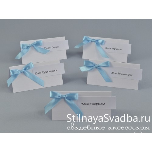 Гостевые карточки белые с бантом  фото