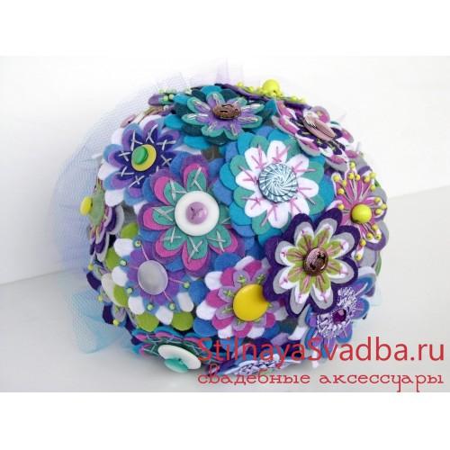 Фетрово-пуговичный букет Сирень в одуванчиках . Фото 000.