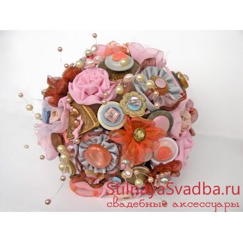 Букет невесты из ткани и пуговиц Розовый Шоколад . Фото 000.