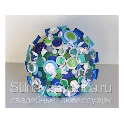 Букет из белых, синих и зеленых пуговиц . Фото 000.