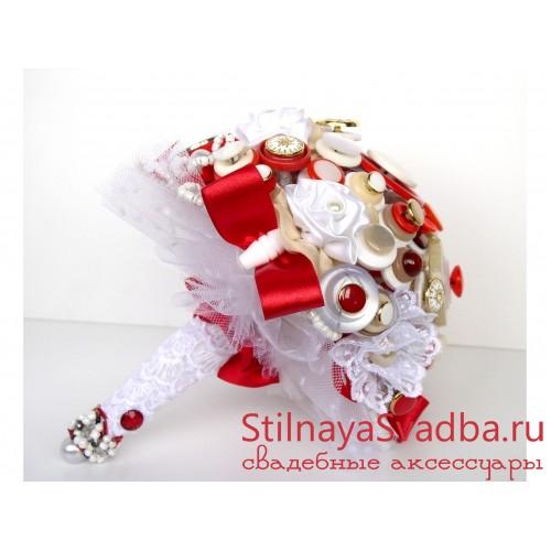 Букет невесты из пуговиц красный . Фото 000.