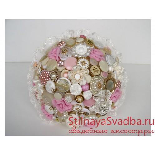 Букет невесты из пуговиц и ткани Розовые мечты  фото
