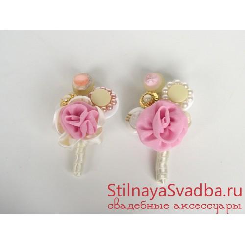 Букет невесты из пуговиц и ткани Розовые мечты . Фото 000.