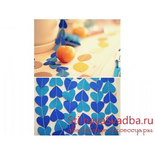 """Гирлянда """"Синие сердечки""""  фото"""
