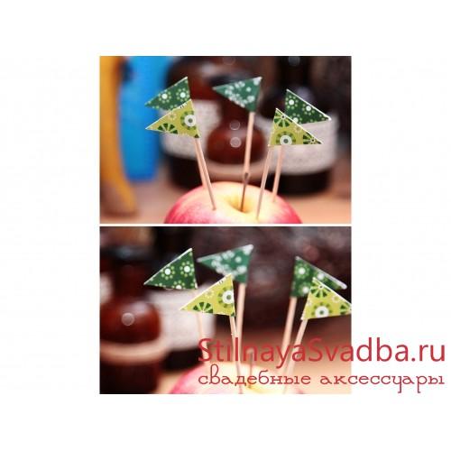 Флажки для капкейков зеленые  фото