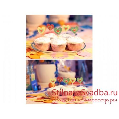 """Флажки для капкейков """"Сердечки цветные""""  фото"""