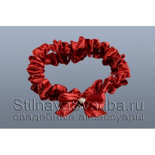 Узкая подвязка цвета марсала фото