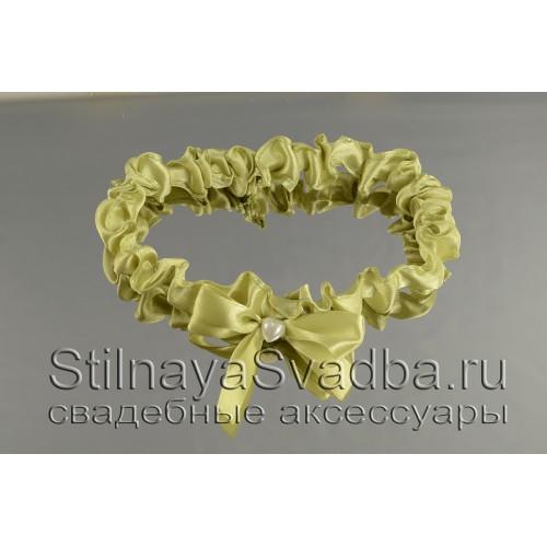Узкая подвязка  оливкового цвета фото