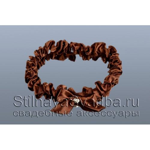 Узкая подвязка  шоколадного цвета фото