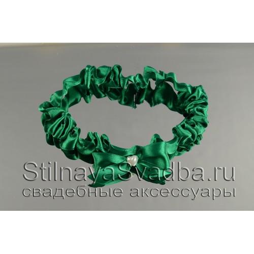 Узкая подвязка  ярко-зелёного цвета фото