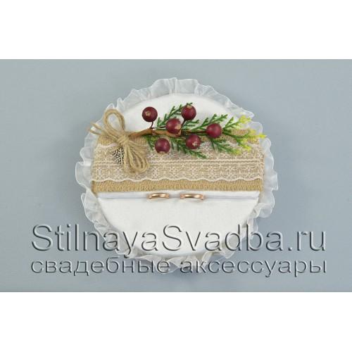 Зимняя подушечка для обручальных колец  в рустикальном стиле фото