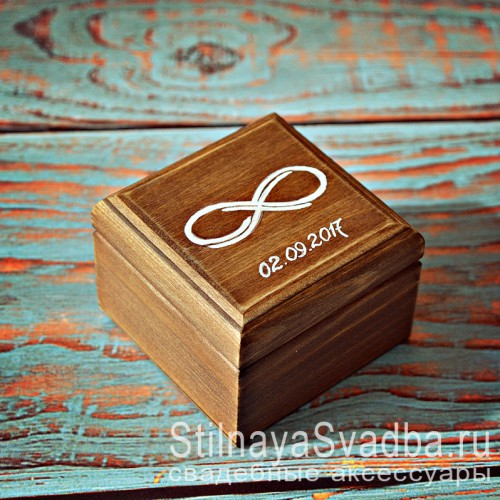 Деревянная шкатулка для колец со знаком бесконечность фото