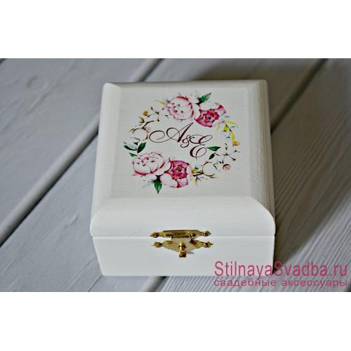 Шкатулочка с розовыми пионами фото