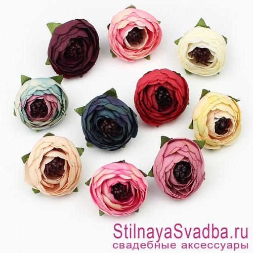 Шпильки  для волос с цветами ранункулюсов разноцветные фото