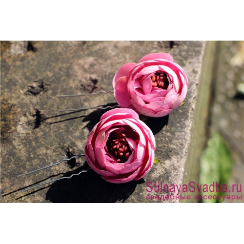 Шпильки  для волос с цветами ранункулюсов ярко-розовые фото