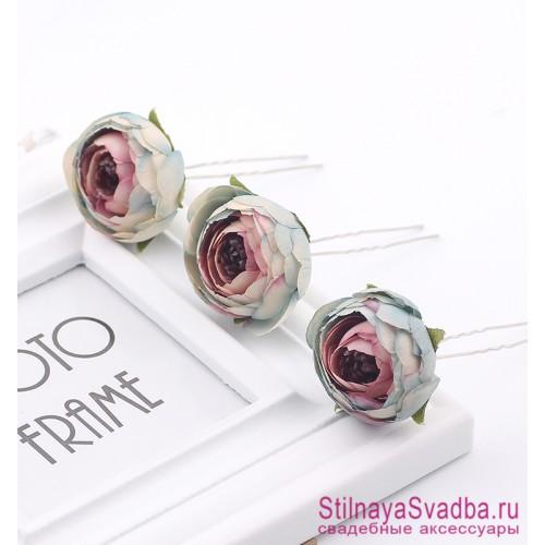 Шпильки  для волос с цветами ранункулюсов бирюзово-лиловые фото