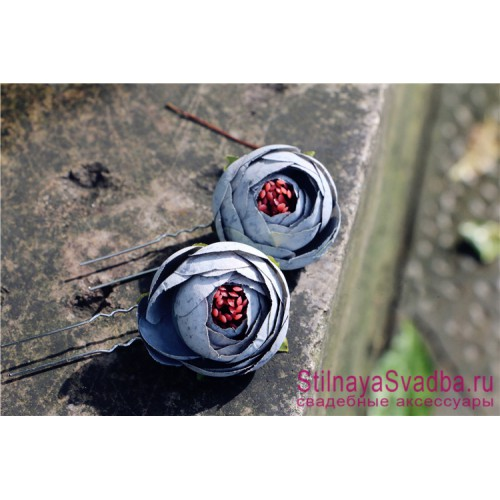 Шпильки  для волос с цветами ранункулюсов голубые фото