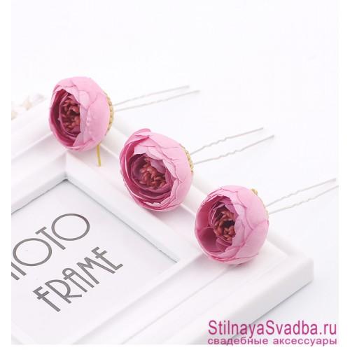 Шпильки  для волос с цветами ранункулюсов розовые фото