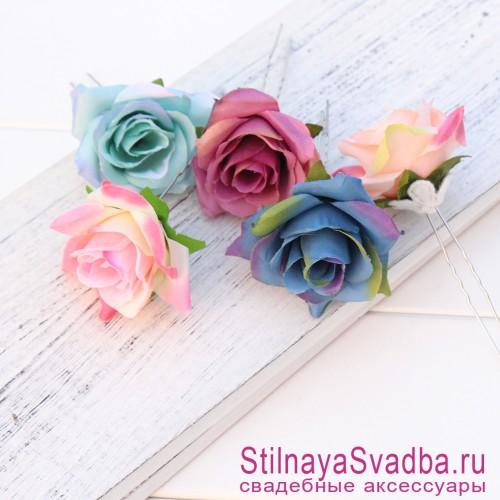 Шпильки   с цветами розочек  в прическу разноцветные фото