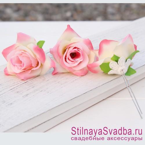 Шпильки   с цветами розочек  розовые фото