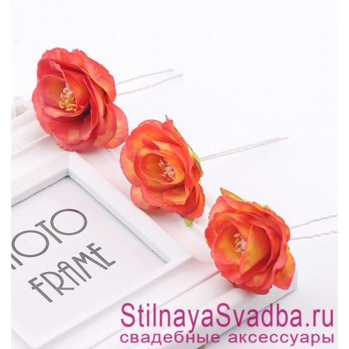 Шпильки   с цветами розочек  ораньжевые фото