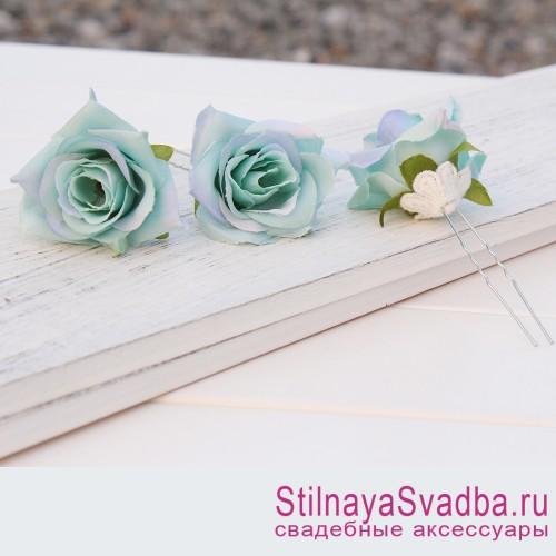 Шпильки   с цветами розочек  мятные фото