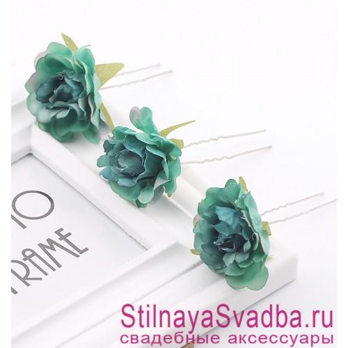 Шпильки   с цветами розочек  зелёные фото