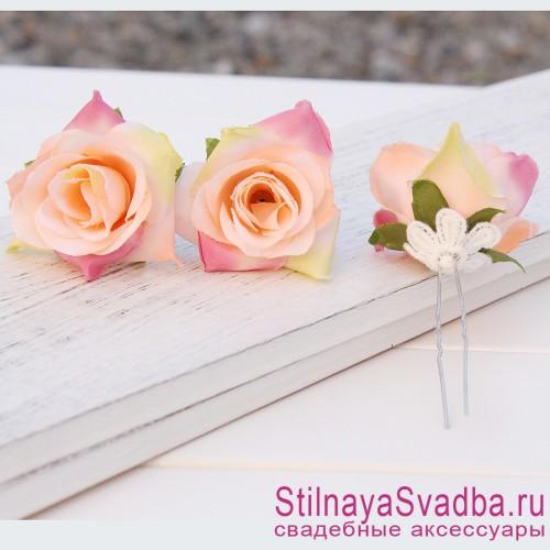 Шпильки   с цветами розочек  персиковые фото