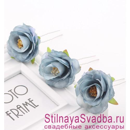Шпильки   с цветами розочек  голубые фото