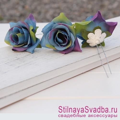 Шпильки   с цветами розочек  сине-лиловые фото