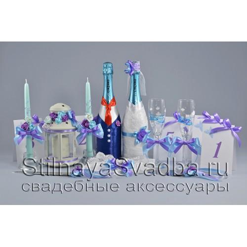 Свадебные аксессуары в сиренево-голубом цвете с самолётиками фото
