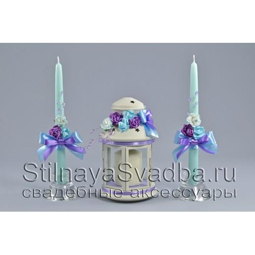 Домашний очаг в  сиренево-голубом цвете  с  фонариком фото