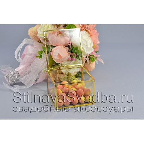 Стеклянная шкатулка для колец прямоугольной формы с абрикосами фото