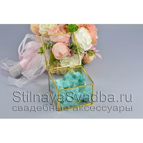 Стеклянная шкатулка для колец прямоугольной формы с голубой гортензией фото