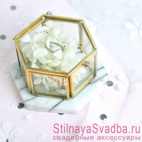 Стеклянная шкатулка для колец с гортензией фото