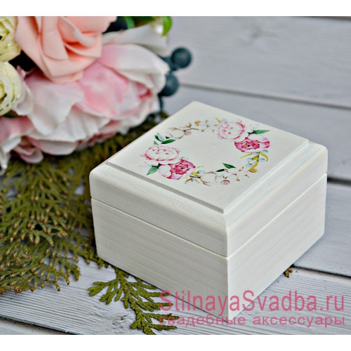 Свадебная Шкатулка для колец Розовые пионы фото