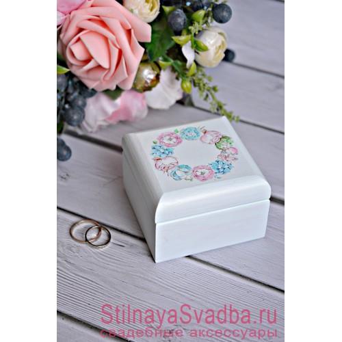 Свадебная шкатулка нежно голубая с пионами фото