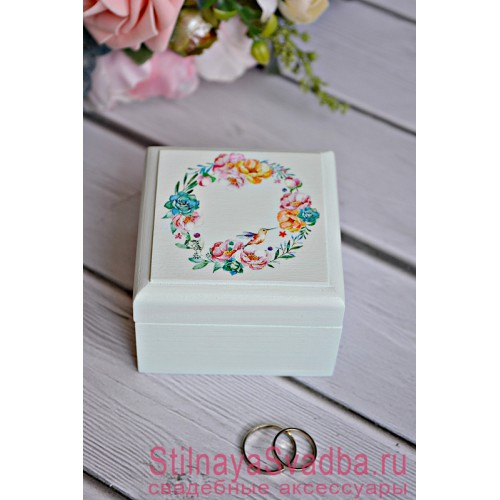 Свадебная шкатулка нежно мятная с колибри фото