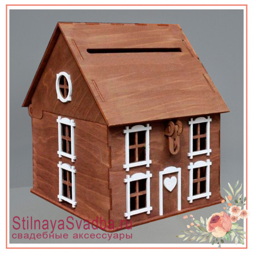 Дом  казна шоколадного цвета с белыми наличниками фото