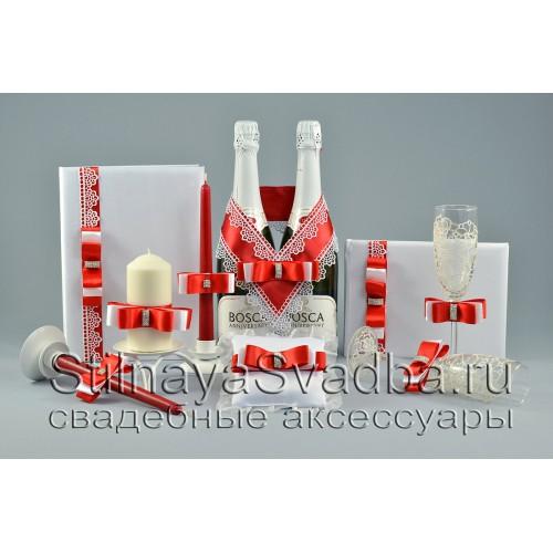 Свадебные аксессуары в ярко красном цвете, Красный рубин фото