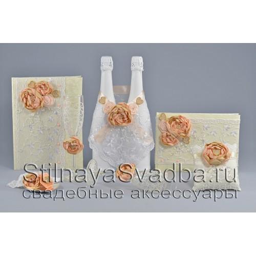 Свадебные аксессуары в персиково-пудровом цвете фото