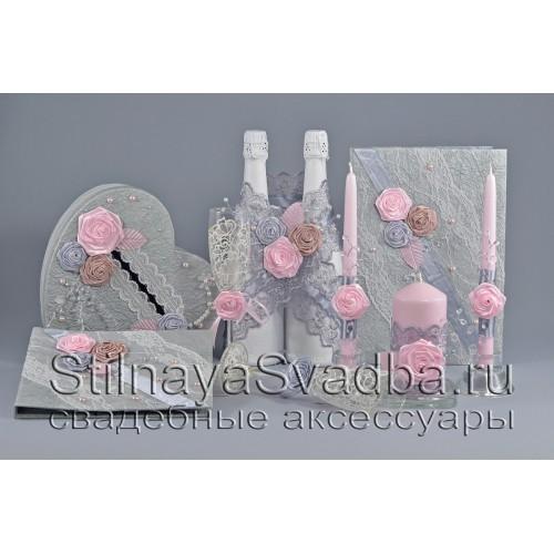 Коллекция свадебных аксессуаров Розовый кварц фото
