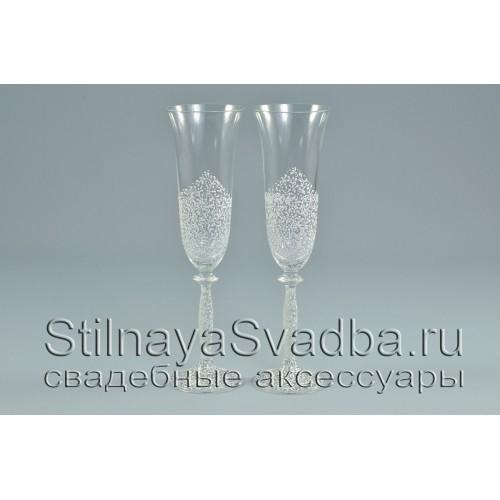 Свадебные бокалы Богемия с  ажурной росписью фото