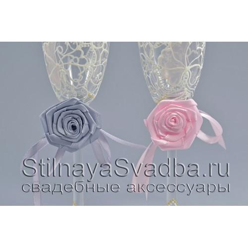 Съемные украшения для бокалов Розовый кварц фото