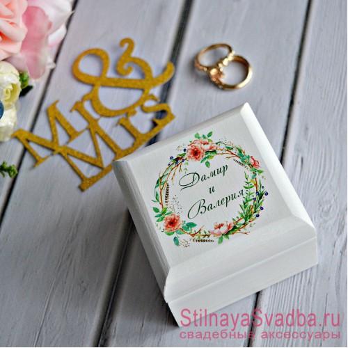 Свадебная шкатулка для колец Бохо-шиповник фото